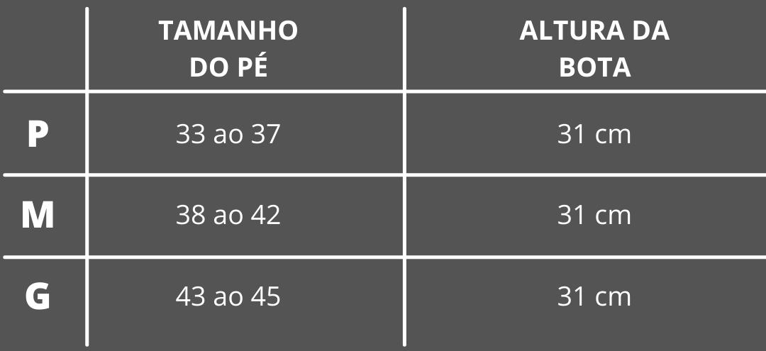 Tabela de Tamanhos - Bota Ortopédica Imobilizadora HidroLight Torção